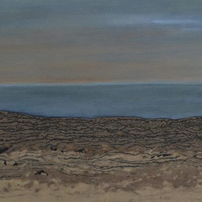 Saltmarsh Scolt Head - mud & oil on canvas - 87 x 31 cm