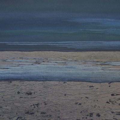 Saltmarsh 2 - mud & egg tempera on canvas - 56 x 36 cm