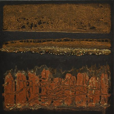 Elements of Detachment - mud & stones on canvas - 50 x 50 cm