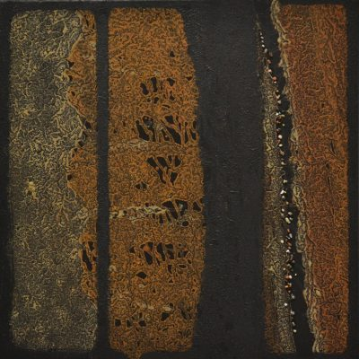 Elements of Uncertainty - mud & stones on canvas - 50 x 50 cm